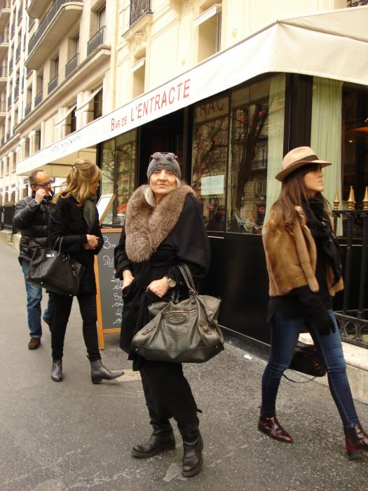 """In front of the Hotel Montaigne and """"Le Bar de l'Entracte""""..."""